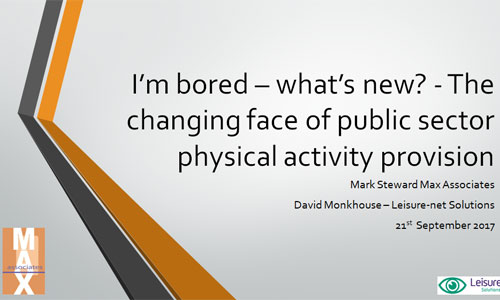 I'm bored – what's new? - The changing face of public sector physical activity provision